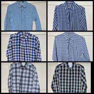 6-PC BUNDLE Express Men Fitted Plaid Dress Shirts!